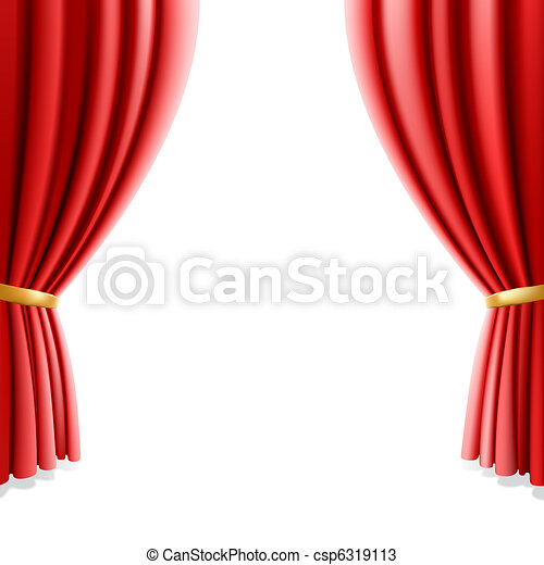 Red theater curtain on white - csp6319113