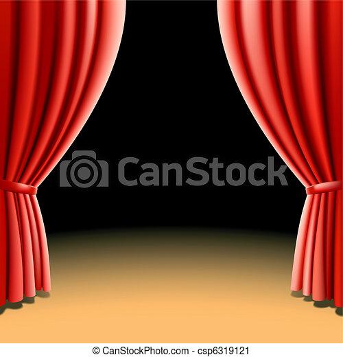 Red theater curtain on dark - csp6319121