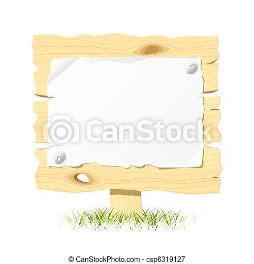Wooden billboard with blank paper - csp6319127