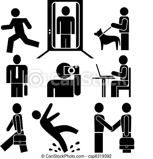 People at work - pictograms - csp6319392