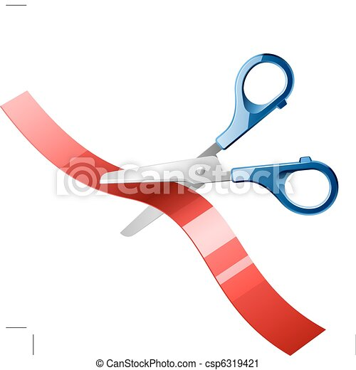 Scissors cutting red ribbon - csp6319421