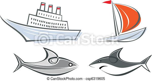 Set of vector marine icons - csp6319605