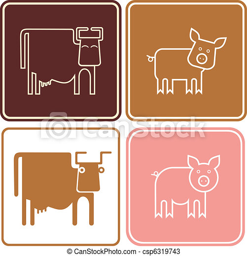 Pig and cow - vector icons - csp6319743