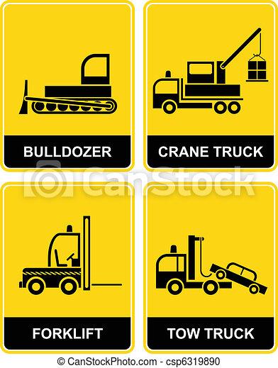 Bulldozer, crane, tow truck  - csp6319890