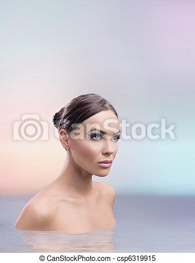 Stunning female beauty taking bath - csp6319915