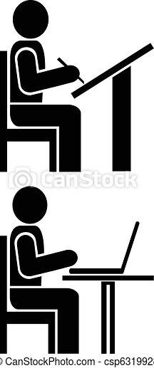 Man writes - pictogram, symbol - csp6319928