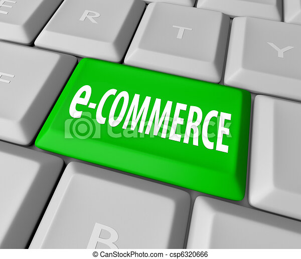 e-Commerce Key on Computer Keyboard - csp6320666