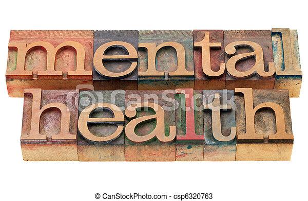 mental health in letterpress type - csp6320763