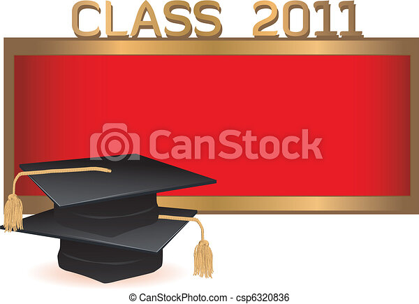 Graduation invitation card with mortars - csp6320836