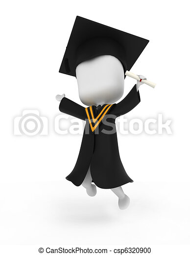 Graduate Jumping Happily - csp6320900