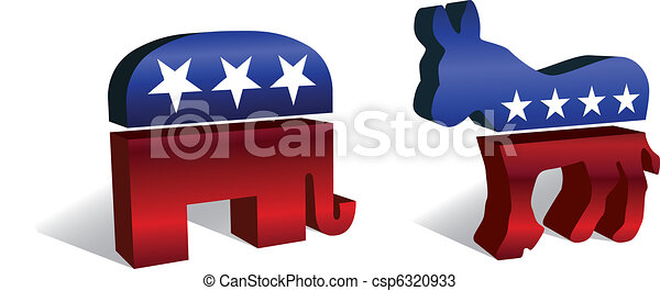 3D Republican & Democratic Symbols - csp6320933