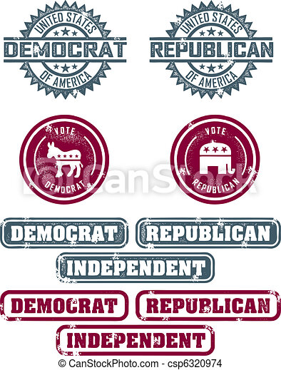 Republican & Democrat Stamps - csp6320974