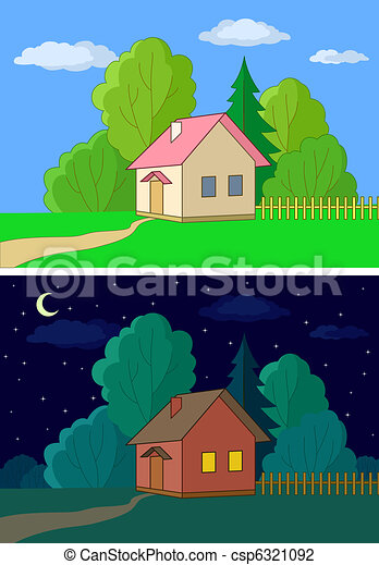Clip Art of House on forest edge, night, day - Landscape, country ...