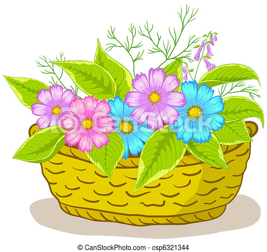 Flower Basket Drawing Basket with flowers cosmos -