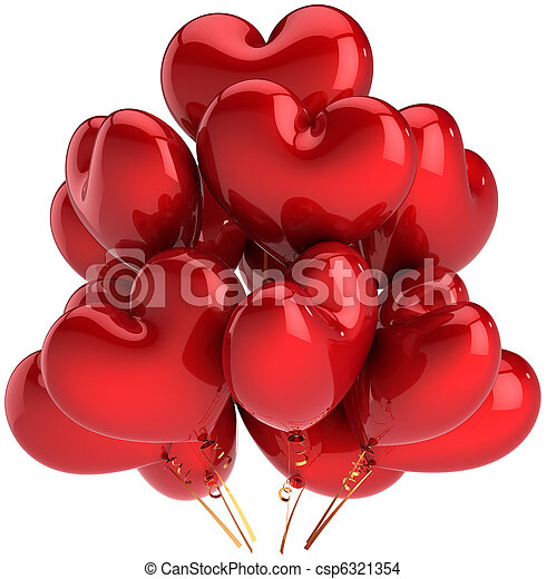 Heart shaped red balloons of Love - csp6321354