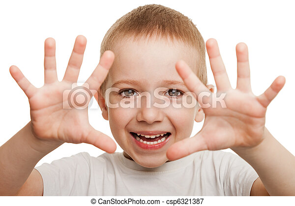 Smiling child gesturing - csp6321387