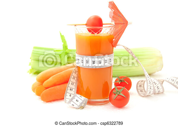 Glass of vegetable juice with tape measure - csp6322789