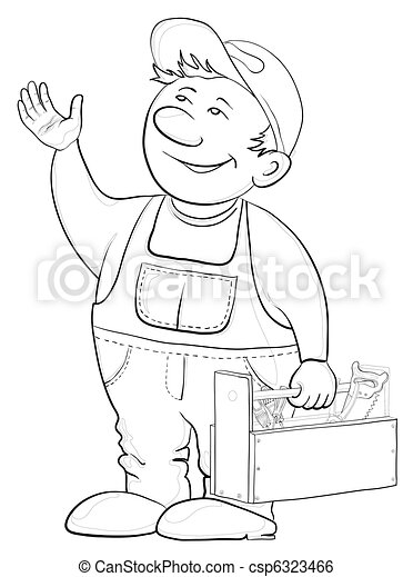 Worker with a toolbox, contours - csp6323466