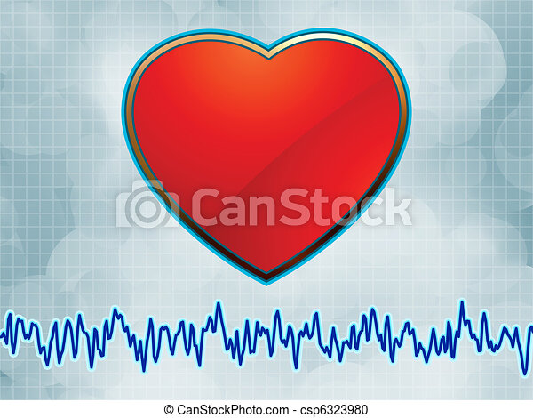 Heart and heartbeat symbol cardiogram. EPS 8 - csp6323980