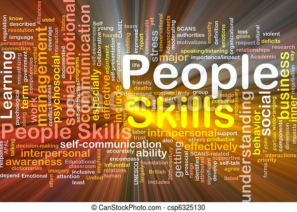 People skills background concept glowing - csp6325130
