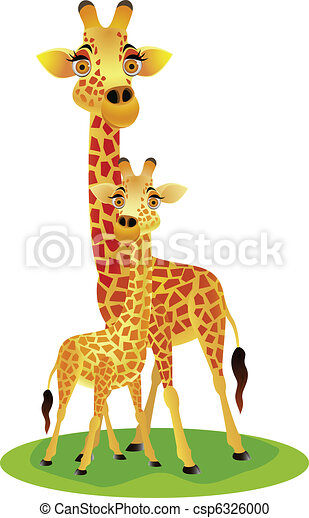 mother and baby giraffe - csp6326000