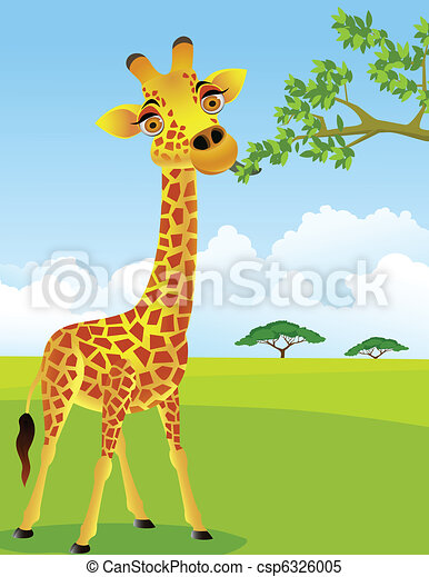 Giraffe eat leaf - csp6326005