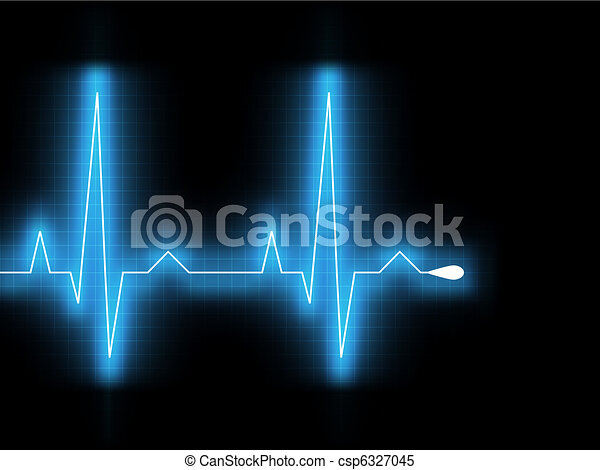 Heartbeat glow on a black monitor. EPS 8 - csp6327045