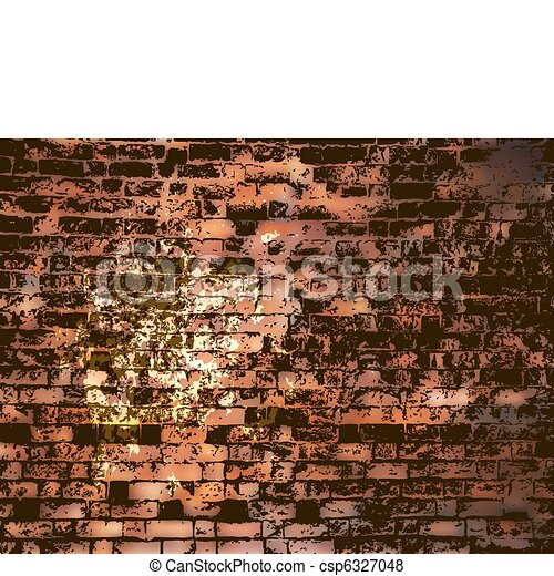 Brick wall with grunge paint splash. EPS 8 - csp6327048