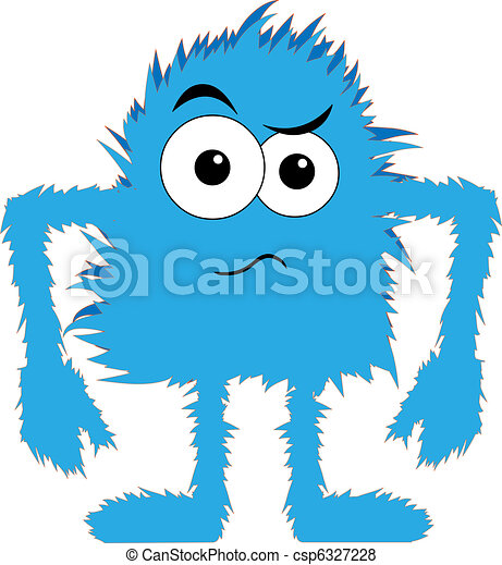 Blue furry monster upset face - csp6327228