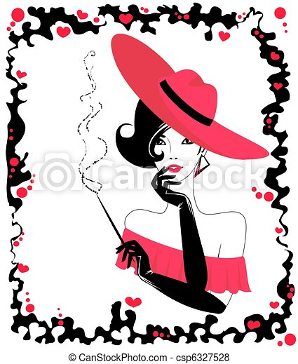 young woman with a cigar - csp6327528