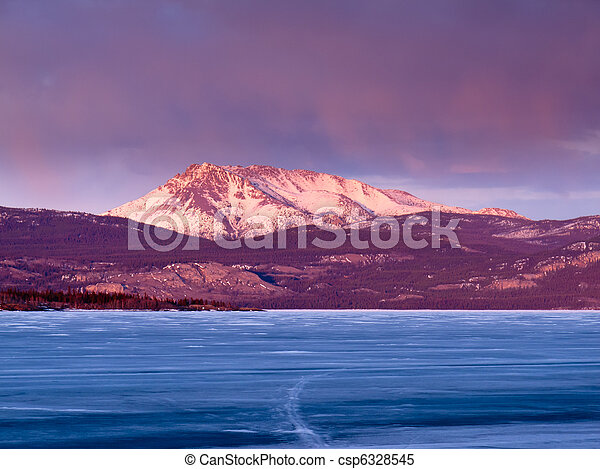 Mt. Laurier and Lake Laberge, Yukon Territory, Canada - csp6328545