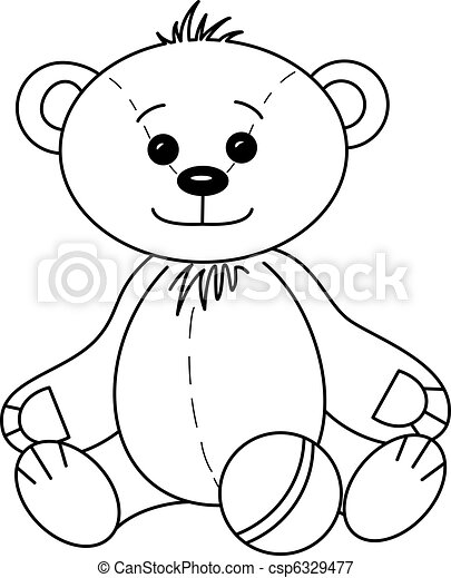 Teddy bear with ball, contours - csp6329477