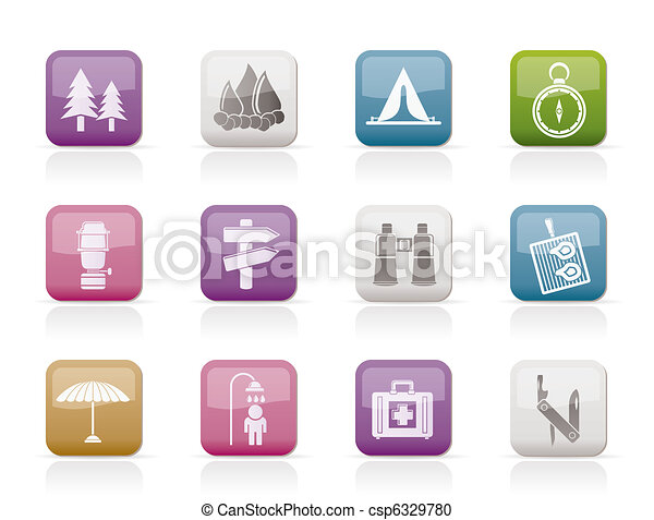 Camping, travel and Tourism icons  - csp6329780
