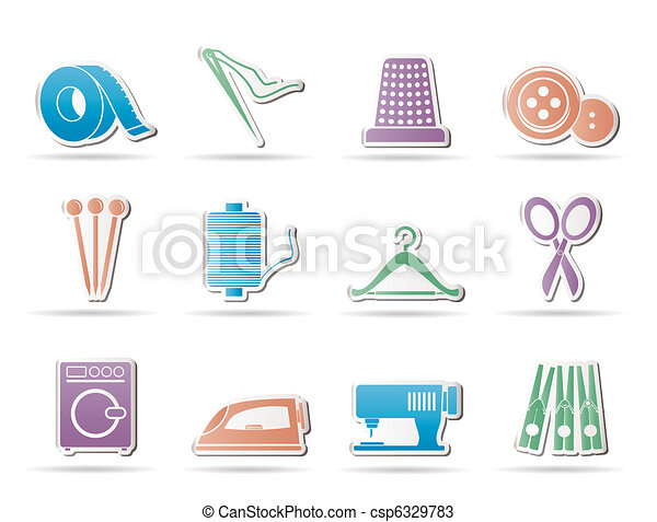Textile objects and industry  icons - csp6329783