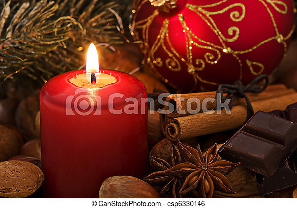 Christmas Decoration with Candlelight - csp6330146