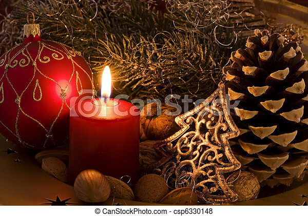 Christmas Decoration with Candlelight - csp6330148