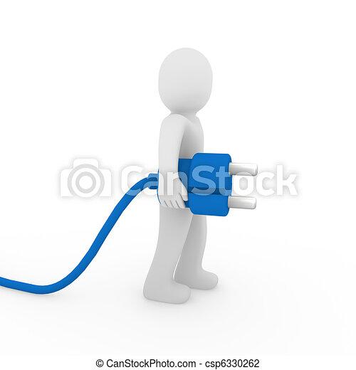3d man blue plug  - csp6330262