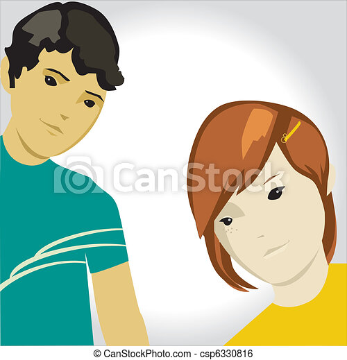 Vector cartoon teens  - csp6330816