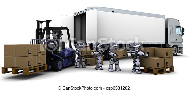Robot Driving a  Lift Truck  - csp6331202