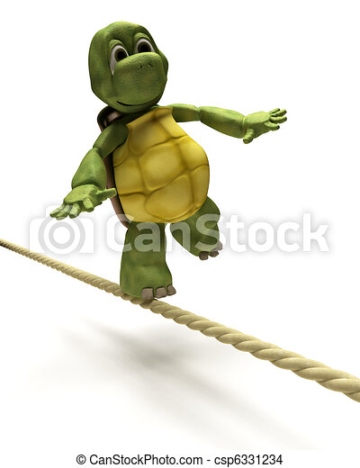 Tortoise balancing on a tight rope - csp6331234