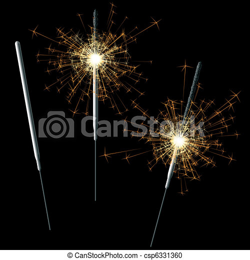 Sparklers on black - csp6331360