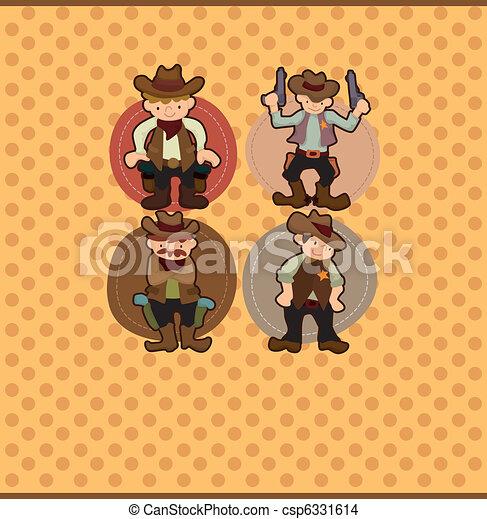 cartoon cowboy card - csp6331614