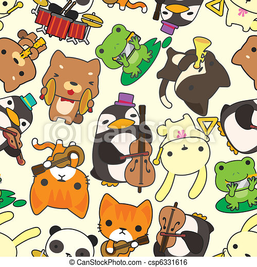 cartoon animal play music seamless pattern - csp6331616