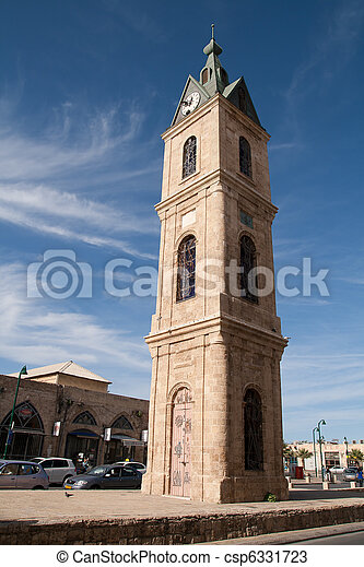 Clock tower in Tel Aviv, Israel - csp6331723
