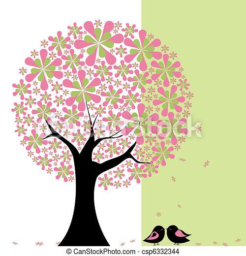 Springtime flower tree with lovebird - csp6332344