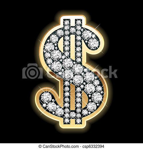 Bling-bling. Dollar symbol. - csp6332394