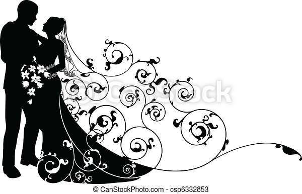 Bride and groom background pattern silhouette - csp6332853