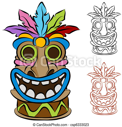 Tiki Clip Art ... Wooden Tribal Tiki Idol - An image of a wooden tribal tiki.