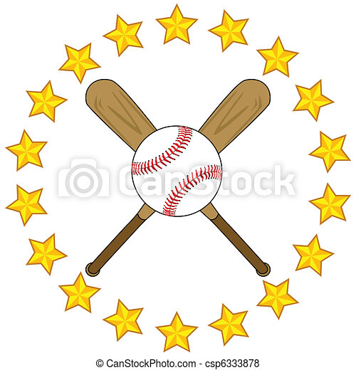 Baseball bats and ball with stars - csp6333878