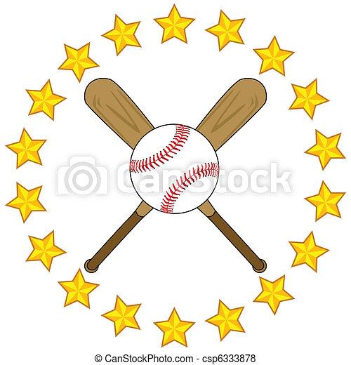 Baseball bats and ball with stars - csp6333878